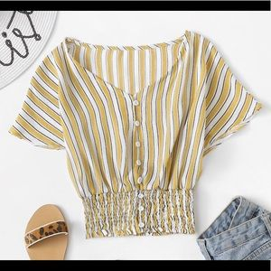 Single Breasted Yellow Striped Top